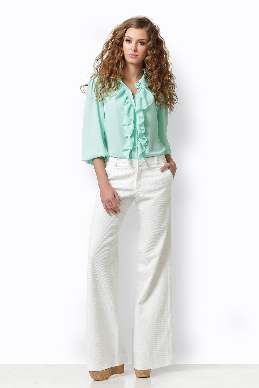 MINT BLOUSE WITH RUFFLE