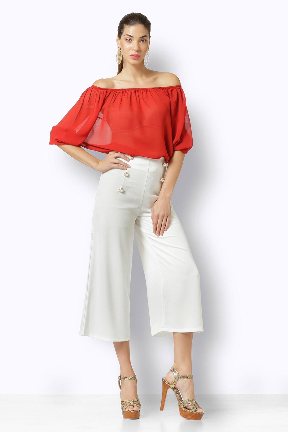 RED BLOUSE WITH ELASTIC BAND
