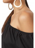 BLACK BLOUSE WITH ELASTIC BAND
