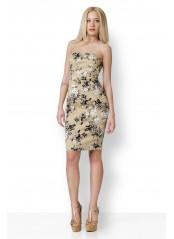 Φόρεμα φλοραλ μπεζ strapless