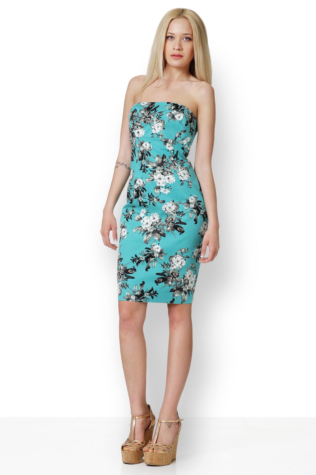 Φόρεμα φλοράλ πράσινο πετρόλ strapless