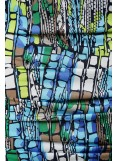 This is a wonderful elastic pencil skirt in a special colorful design. This pattern flatters all figures, covering the hips and