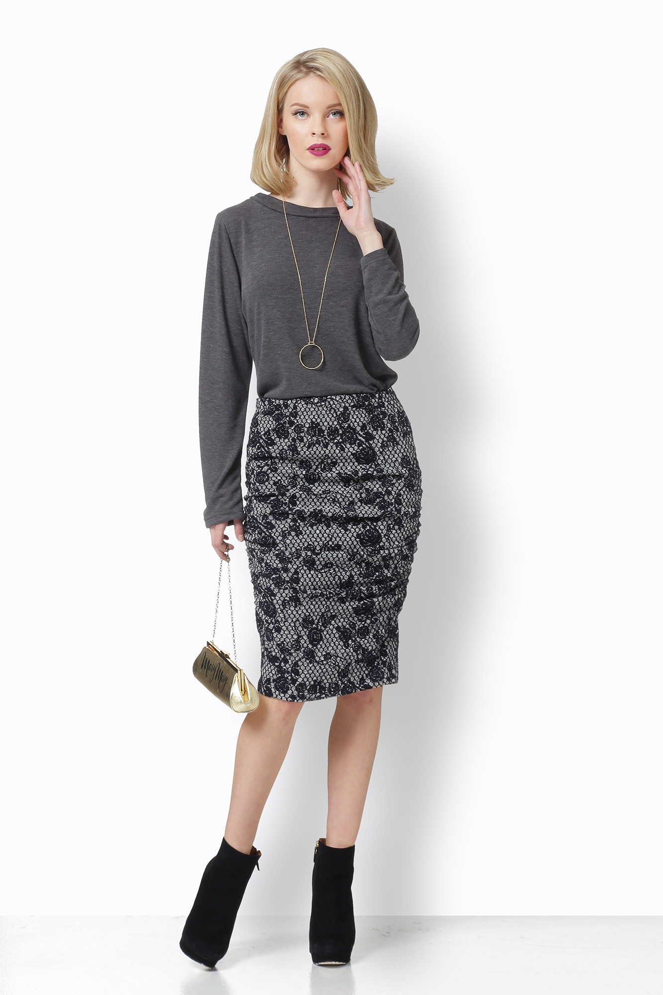 DRAPED GREY SKIRT