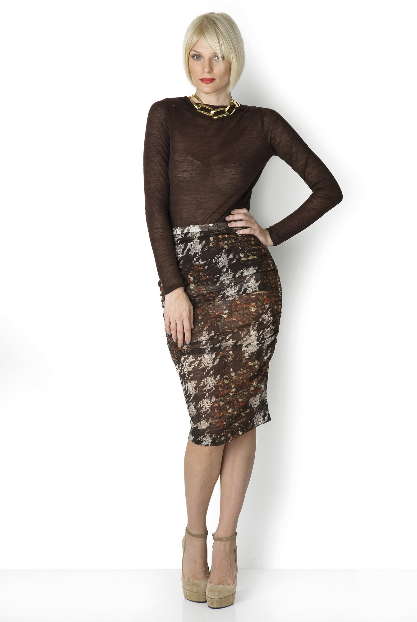 BROWN DRAPED SKIRT