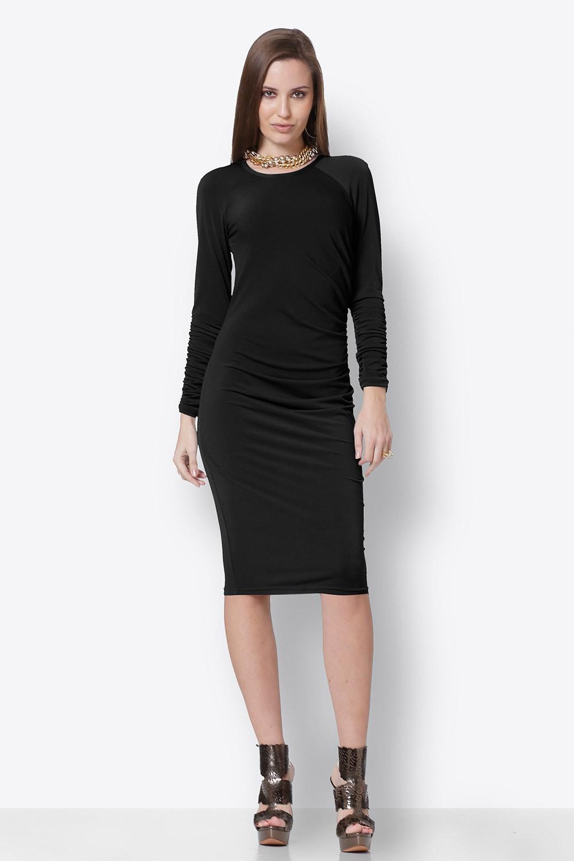 Φόρεμα pencil μαύρο με σούρες