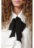 WHITE RUFFLE WITH BLACK BOW