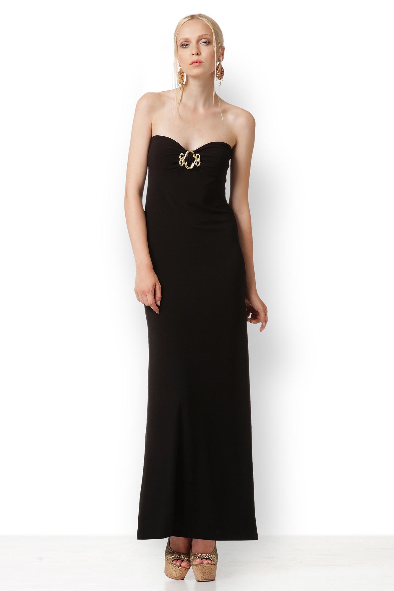 MAXI BLACK STRAPLESS DRESS